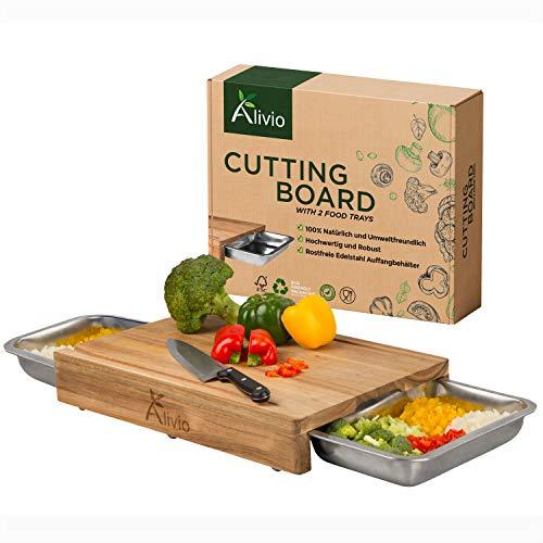 Alivio Schneidebrett mit Auffangschale XXL Cutting Board Akazien-Holz, kein Bambus - Set 2 groß Gastro-Behälter Edelstahl für Küchenabfälle Holz-Schneidebrett Küche