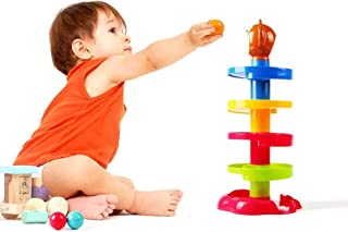 WP 5 Layer Ball Drop and Roll Swirling Tower for Baby and Toddler Development Educational Toys | Stack, Drop and Go Ball Ramp Toy Set Includes 3 Spinning Acrylic Activity Balls with Colorful Beads