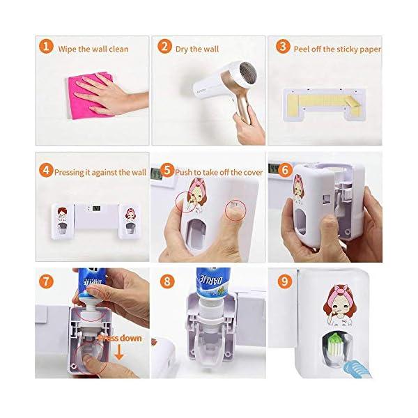 Yooap Dispensador automático de Pasta de Dientes Soportes para cepillos