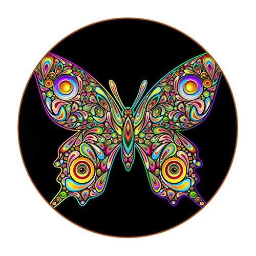 6 posavasos redondos de microfibra de piel para bebidas, posavasos decorativos para tipos de tazas y tazas, color negro mariposa
