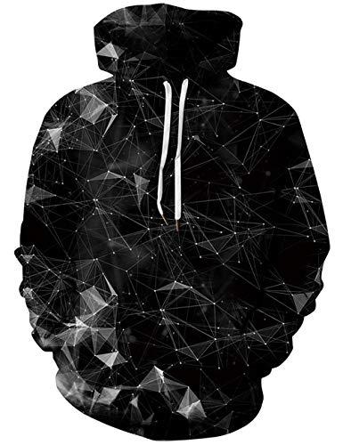 ALISISTER Unisex Hoodie HD Realistisches Hoodie Sweatshirt Schwarz Dimond Grafik Kapuzenpullover Beiläufig Herren Damen Outdoor Kapuzenpullis M