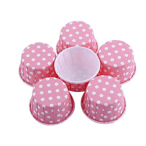 100 Stück Kuchen Backformen für kleine Kuchen Muffin Cupcake Backen Papier Anti-Öl für Party Hochzeit Geburtstag Auswahl Rosa