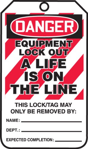 Accuform MLT414PTP Lockout Tag, Legend'Danger Equipment Lock Out A Life is ON The LINE', 5.75' Length x 3.25' Width x 0.015' Thickness, RP-Plastic, Red/Black on White (Pack of 25)