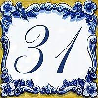 Placa con número de casa y nombre de la calle - Azulejo de barro – 10x10, 15x15 ou 20x20cm