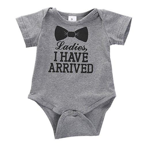 Newborn Baby Boys Girls Bowtie Short Sleeve Romper Bodysuit Playsuit Outfits Gray