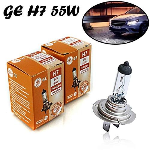 2x General Electric GE H7 55W 12V 58520DPU/1 Extra Life Weiß White Headlight High Tech Ersatz Halogen Birne für Scheinwerfer, Fernlicht, Abblendlicht, Nebelleuchte vorne - E-geprüft