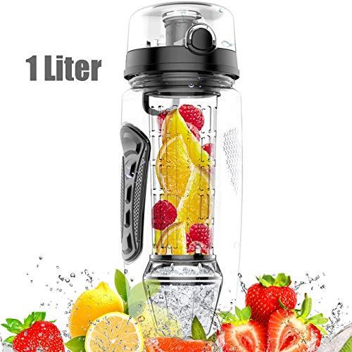 amzdeal Bottiglia Acqua - 1 Litro Borraccia di Acqua con Infusore di Frutta, Senza BPA, a Prova di Perdite, Portatile per Sport, Nero