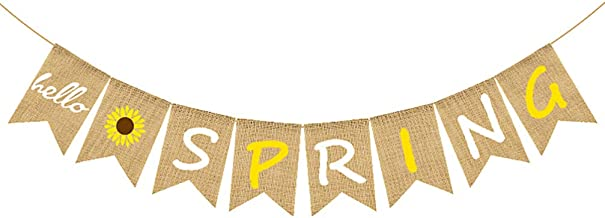 KESYOO Hello Spring Burlap Banner Rustic Spring Banner Garland Sunflower Bunting Banner Seasonal Christmas Party Decoratio...