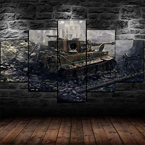 5 Teilig Bilder Leinwand,Leinwanddrucke 5 Stück,Leinwanddrucke Wanddekoratio 5 Teiliges Wandbild,Bilder Wohnzimmer Modern Mit Rahmen,3D Xxl Bilder,Wohnzimmer,150X80Cm Tiger I World War 2 Panzer