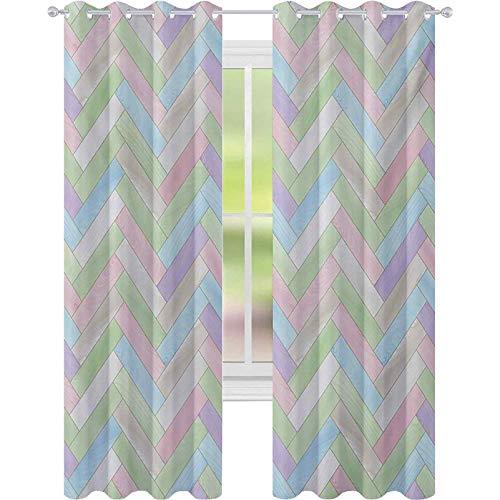 Cortinas opacas impresas, de color suave, realista, parquet de madera, estampado de espiga, país, impresión de 52 x 95, cortinas para dormitorio, multicolor