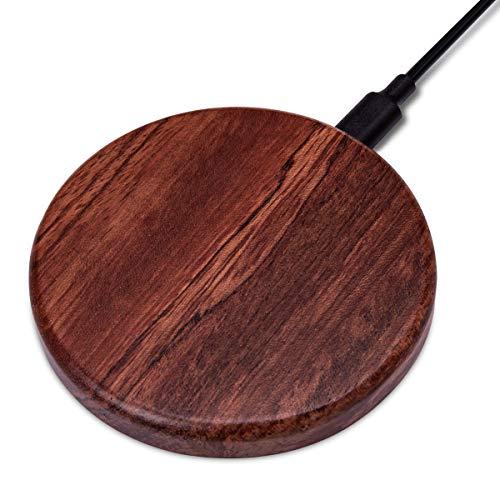 Navaris Qi Wireless Smartphone Ladegerät - Induktionsladegerät aus Holz - 10W Fast Wireless Charger Ladestation - kabellos Laden durch Induktion