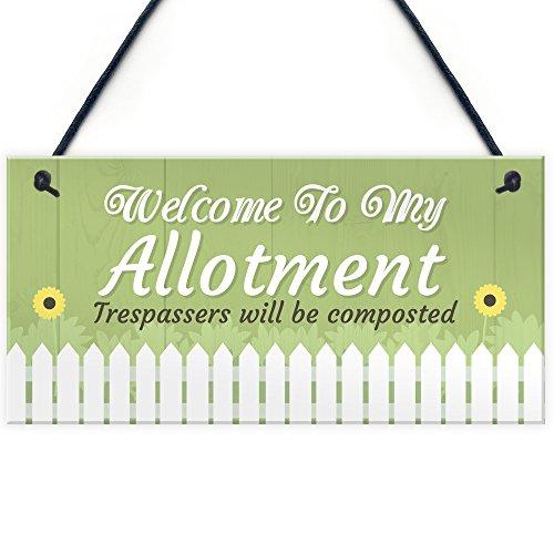 RED OCEAN Welcome To My Allotment Garden Sign Outdoor Shed Wall Door Plaque Gift Dad Grandad Grandma