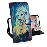 Glitzer Brieftasche Hülle für Samsung Galaxy S7 Edge,Miagon Änderung Farbe Tier Gemalt PU Leder Faltbare Flip Case mit Kartenhalter Standfunktion,Löwe