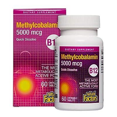Natural Factors Methylcobalamin B12 5000mcg (5000mcg, 60 Sublingual Tablets) from Natural Factors
