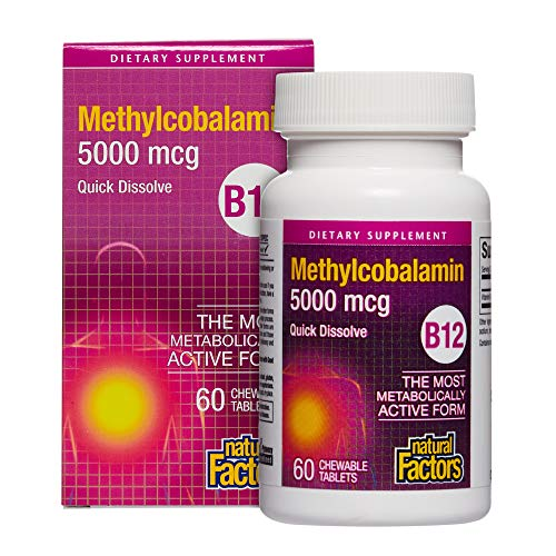 Natural Factors Methylcobalamin B12, 5000Mcg, 60 Sublingual Tablets, 200 g