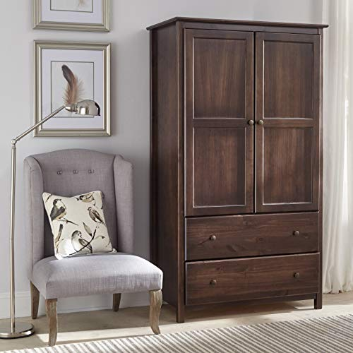 Shaker 2-Door Solid Wood Armoire Espresso Finish - 41x72x22 Brown Mission Craftsman Transitional Pine Includes Hardware