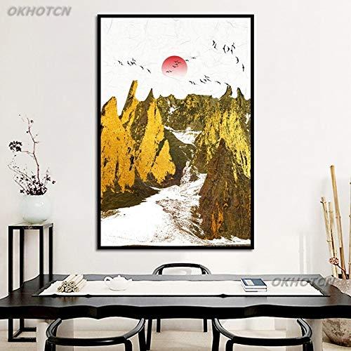 Hauptdekoration Goldener Sunbird Berg chinesischer Stil abstrakte Landschaft Moderne Ölgemälde Wandkunst Poster Wohnzimmer rahmenlose Malerei 60cmx90cm