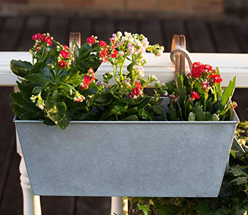 HORTICAN Hanging Planter Flower Pot Metal Container Wall Pocket Garden Bucket for Indoor or Outdoor Balcony Patio