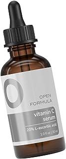 Open Formula Vitamin C 20% Serum Brightens Smooths Wrinkles & Dark Spots. Anti Aging. L-ascorbic Acid + Hyaluronic Acid + ...