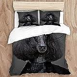NR YUANSUGBettwäsche-Set, schöner schwarzer Pudel auf grauem Hintergrund- 1 Bettbezug:135 * 200cm+ 2 Kopfkissenbezug 50x80cm