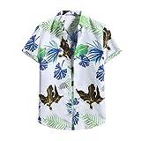 YOUQU Camisa Hawaiana Hombre,Funky Graphic,Casual Night Club Party Manga Corta,Unisex Surf Beach Aloha Cardigan Tops De Verano,Blanco,L
