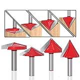 BIGP 6PCS Set di punte Router per Scanalature a V, Fresa per scanalature a V 8 mm gambo, 60° 90° 120° 3D V forma Fresa per legno Fresa per legno Coltello per incisione CNC Router Bit
