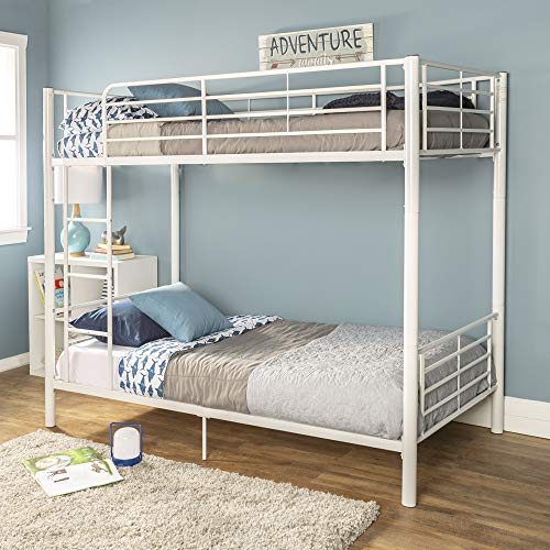 Walker Edison Furniture Company Modern Metal Pipe Twin Bunk Kids Bed Bedroom Storage Guard Rail Ladder, White