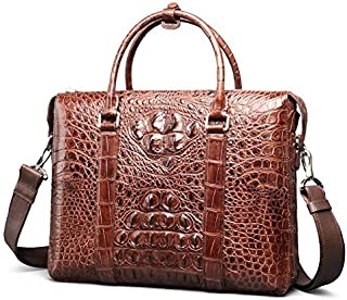 New Crocodile Leather Man Bag Crocodile Leather Handbag Crocodile Handbag Business Men and Leisure Bag Leather Briefcase (Color : Brown)