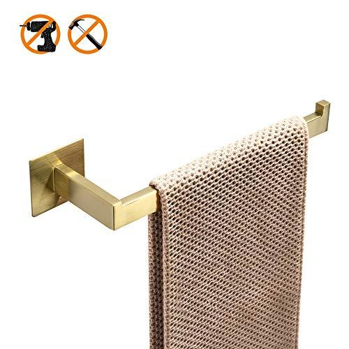 WOMAO - Toallero adhesivo sin perforación, superficie con acabado de oro cepillado moderno, soporte para toalla de baño, 60 cm de largo