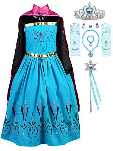 FStory&Winyee Mädchen Prinzessin ELSA Kostüm mit Umhang Kinder Karneval Eiskönigin Kostüm Cosplay Kleid Fasching Kostüme Party Weihnachten...