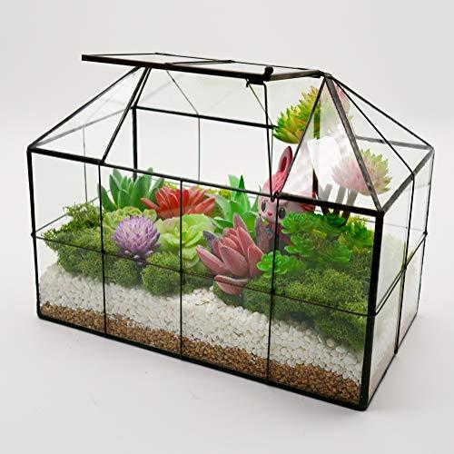 Luckyslife Succulent Geometric Glass Terrarium - Tabletop House Shape Clear Glass Plant Terrariums 9.8'X7.9'X5.9'