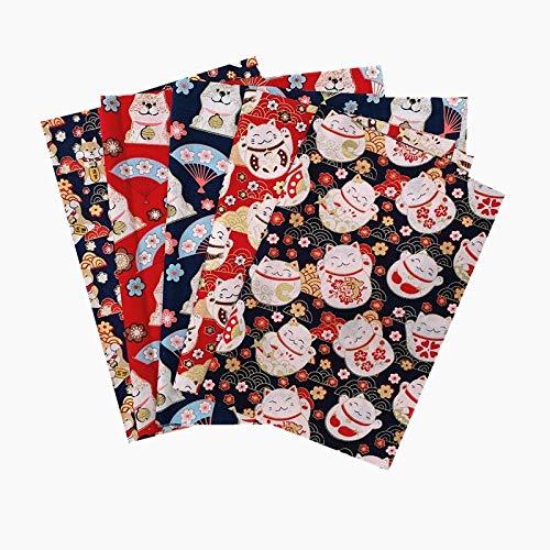Patchwork Tejidos por Metro,5 Piezas de Costura del Libro de Recuerdos Patchwork, Dibujos Animados Lisos de algodón Puro DIY Craft cloth-11,Patchwork artesanías de Tela
