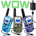 Topsung 3 Walkie Talkies for Kids Adults Rechargeable Walkie Talkie Two Way Radio with Charger?Idea Kids Toys for 3 4 5 6 7 8 9 10 11 12 Year Old Girl Boy Gifts from Topsung