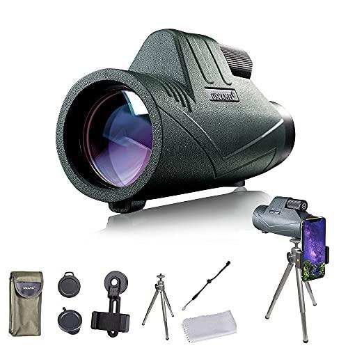 Binocolo monoculare HD con supporto e treppiede, impermeabile, per alpinismo, osservazione degli uccelli, caccia, concerti, partite di calcio (verde)