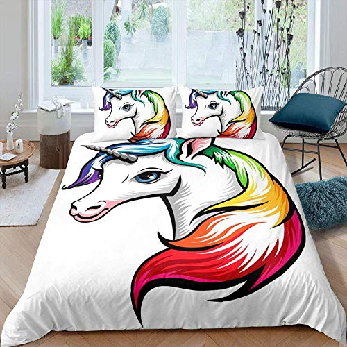 Evvaceo 3D Printed Teenager Children Kids Bedding Set With Microfiber Zipper Quilt Case & Pillowcases Creative Colorful Unicorn Animal 220 Cm X 230 Cm Duvet Cover Set For Boy Girl Single (king)