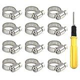 Sprießen 12PCS Abrazadera de manguera, 10-16 mm Abrazaderas Metalicas Tubo Inoxidable, Clips de manguera de banda 9 mm con 1 destornillador para tuberías de agua domésticas/mangueras de automóviles