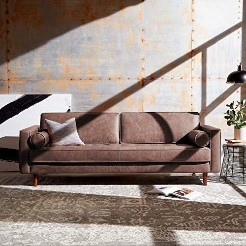 """Amazon Brand – Rivet Aiden Mid-Century Modern Sofa Couch (86.6""""W) - Dark Brown Leather"""