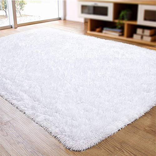 ACTCUT Ultra Soft Indoor Modern Area Rugs Fluffy Living Room Carpets for Children Bedroom Home Decor Nursery Rug 4x5 Feet, White