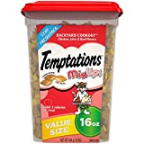 TEMPTATIONS MIXUPS Crunchy and Soft Cat Treats Backyard Cookout Flavor, 16 oz. Tub