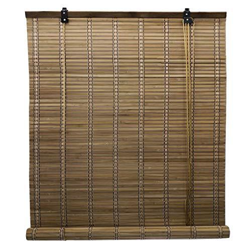 Solagua 6 Modelos 14 Medidas de estores de bambú Cortina de Madera persiana Enrollable (90 x 175 cm, Marrón)