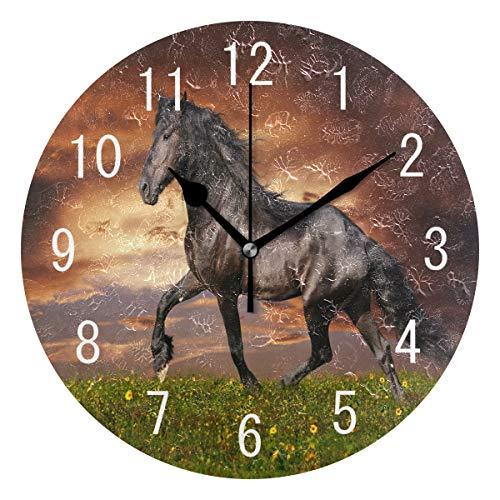Use7 Wanduhr mit schwarzem Pferd, rund, Acryl, nicht tickend, geräuschlos, für Wohnzimmer, Küche, Schlafzimmer