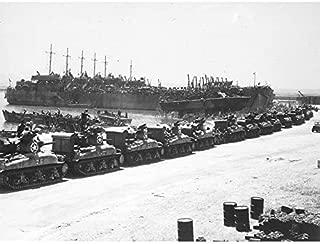 War WWII USA LST Tanks Invasion Sicily 1943 Photo Art Print Canvas Premium Wall Decor Poster Mural