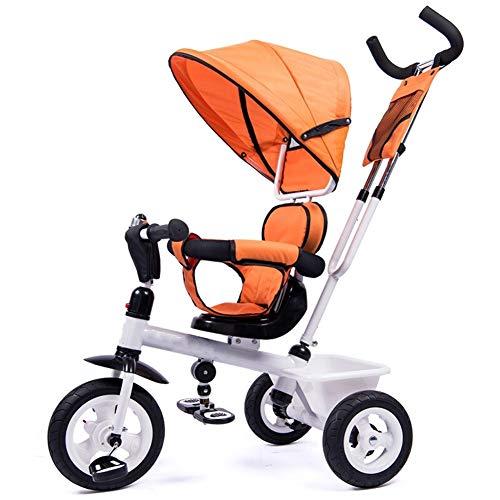 WENJIE Bicicleta for Niños Cochecito De Bebé Carrito De Bebé Coche De Bebé De 1-3-6 Años Rotación Bidireccional Valla De Seguridad Regalo for Niños (Color : Orange)