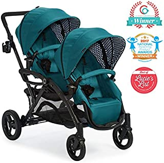 Contours Options Elite Tandem Double Toddler & Baby Stroller, Multiple Seating Configurations, Car Seat Compatibility, Aruba Teal