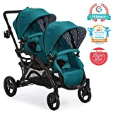 Contours Options Elite Tandem Double Toddler & Baby Stroller, Multiple Seating Configurations, Lightweight Frame, Car Seat Compatibility, Aruba Teal