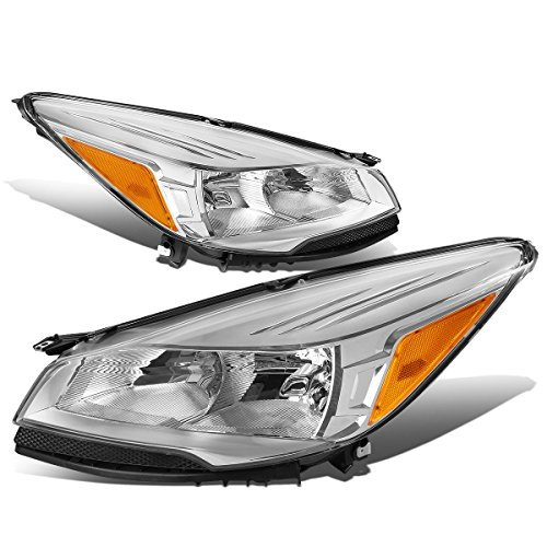 Pair of Chrome Housing Amber Corner Headlights HeadLamps Compatible with Ford Escape 3rd Gen 13-16