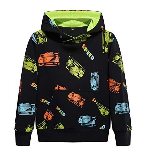 YOUNGSOUL Jungen Hoodie mit Autodruck Kapuzenpullover Kinder Reflektierende Pullover Sweatshirt Schwarz Auto 116-122/Größe 120