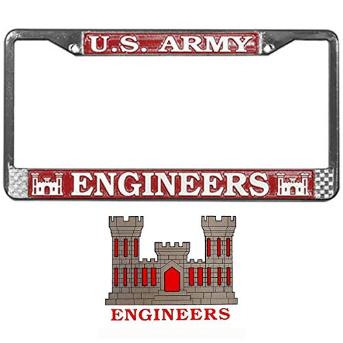 Butler Online Stores U.S. Army Engineers License Plate Frame Bundle with US Army Engineer Decal/Sticker