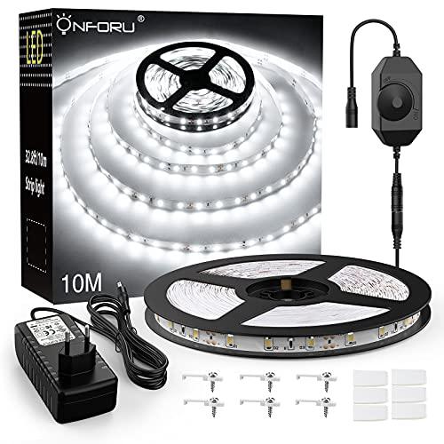 Onforu 10M Tira LED Regulable, 6000K Tira de Luces Blanca Fría, 12V Tira Led Cocina Bajo Mueble con Adaptador, 2400LM Tira Led 2835, Iluminación Led para Habitación, Sala, Gabinete, Armario, Escalera