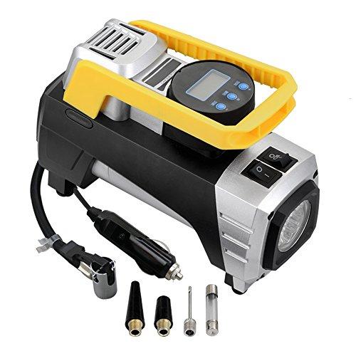 Generic Compresseur d'air Pompe Portable Compresseur d'air 150 PSI Jauge de gonflage avec arrêt automatique numérique et flash lumineux pour voiture 12 V uniquement